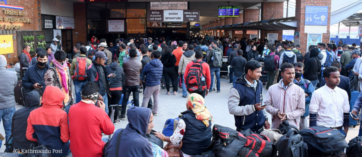 Migrant workers at Tribhuvan International Airport in Kathmandu