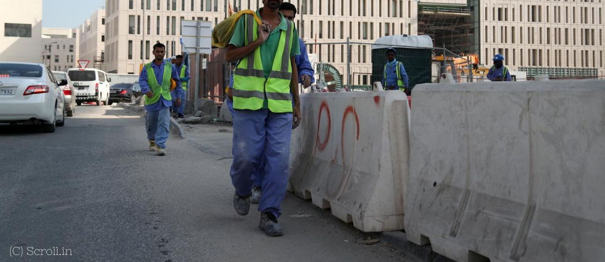 Qatar Migrant workers were walking on the road