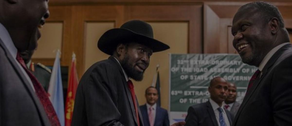 South Sudan's President Salva Kiir and opposition leader Riek Machar