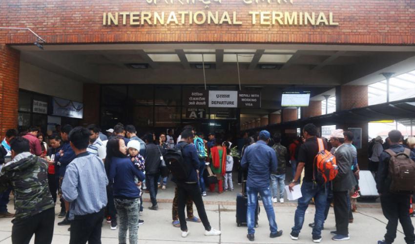 Nepali migrant workers gathered at Tribhuvan International Airport