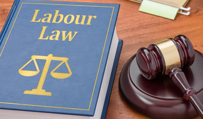 Labour law book with a gavel