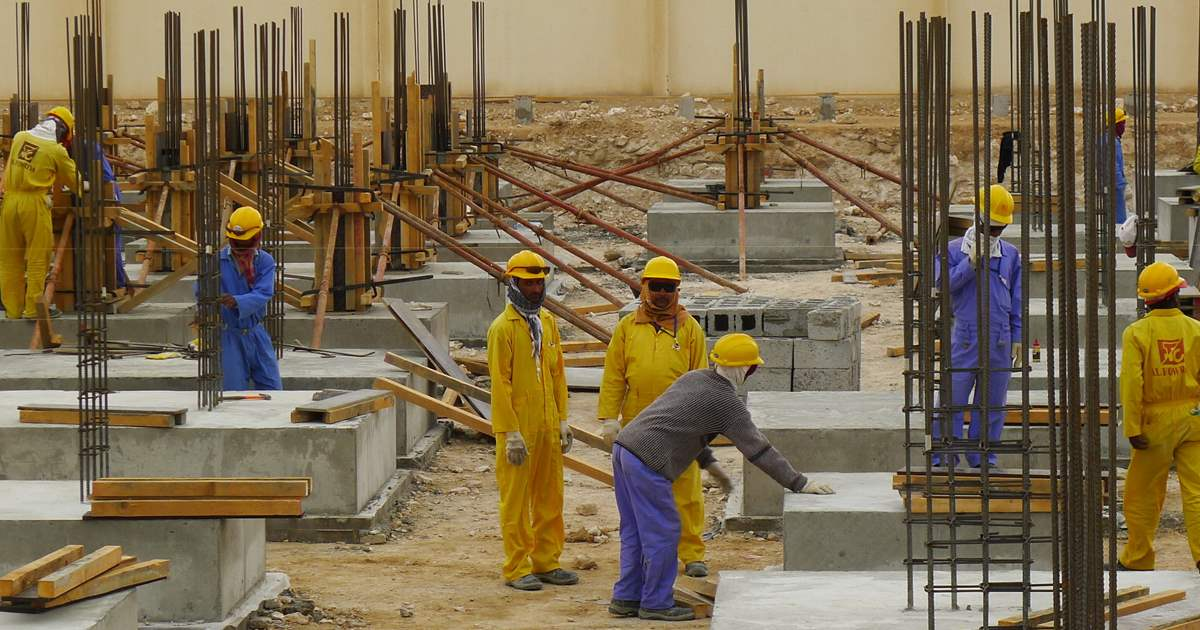Qatar workers worked in construction site