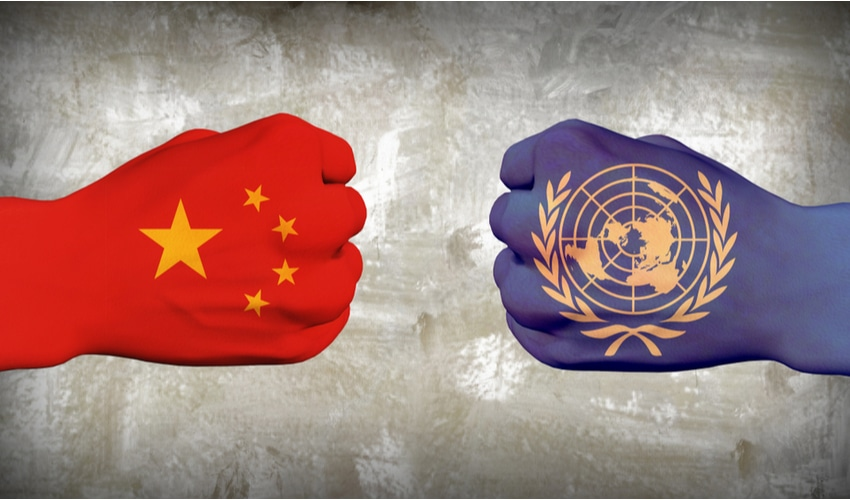 China vs UN. Men fists. 3D rendering