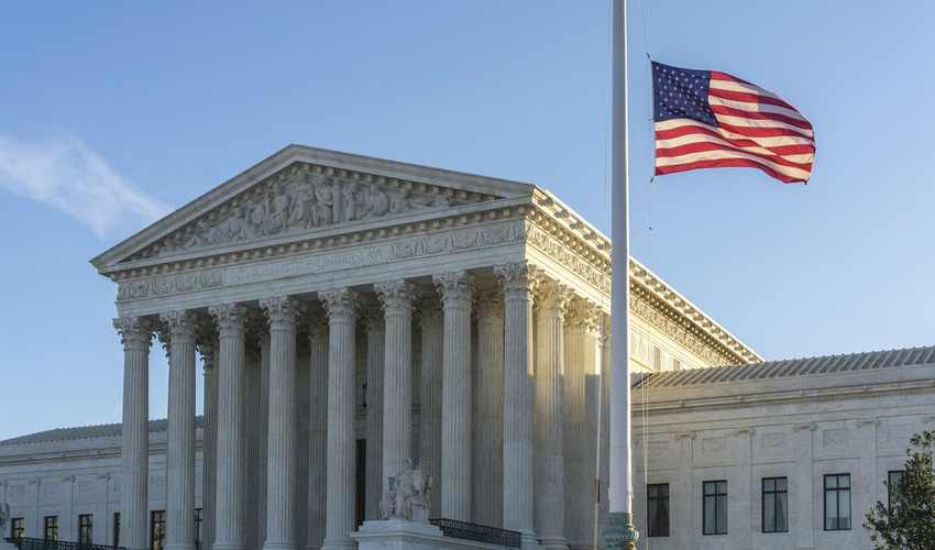 Flags fly at half-staff at the United States Supreme Court