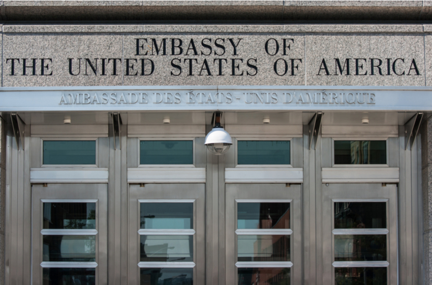 An entrance to the Embassy of the United States of America in Ottawa