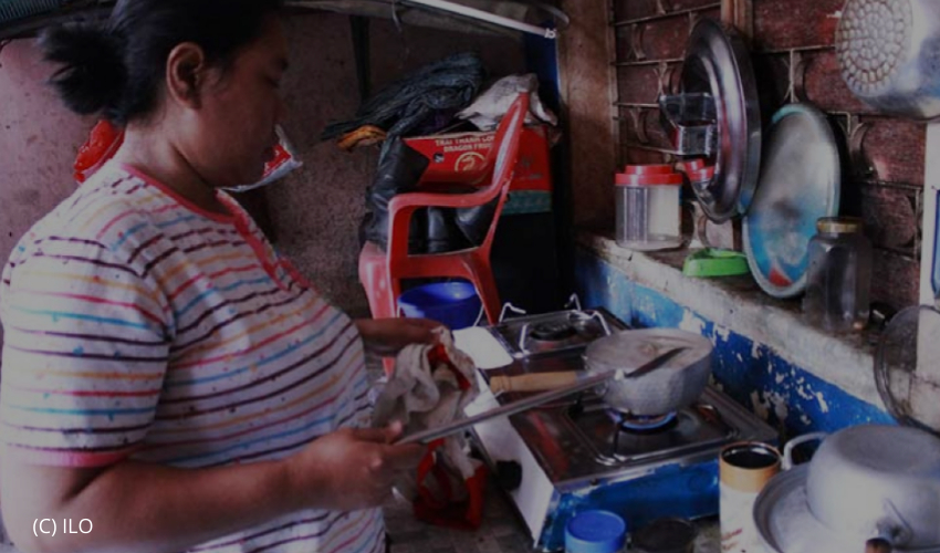 Domestic workers were working in the house