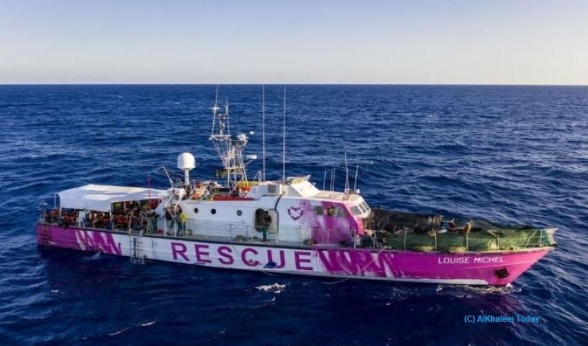 Banksy, Louise Michel, Mediterranean Sea, Moonbird, refugee migrants