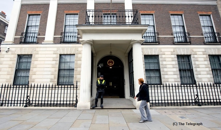 China, United Kingdom, Chinese Embassy in the UK, Tower of London, Tower Hamlets, Councilors, Uighur Muslims, Xinjiang, Detention Camps, Hong Kong, Protest,