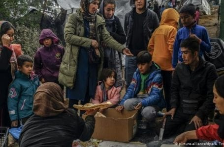 The displaced Moira migrants demand rescue from Lesbos Island after fire blazes camps