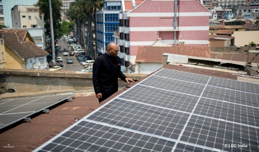 Indian embassy, Madagascar, solar plant, Gandhi Jayanti