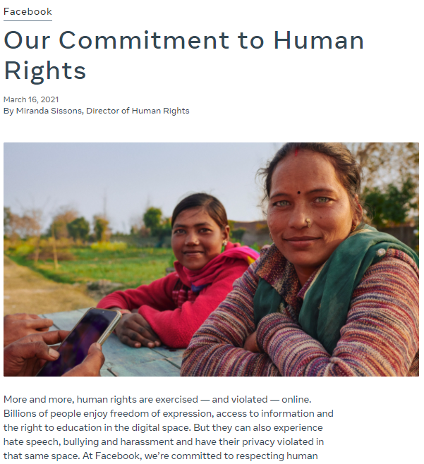 facebook policy for human rights 2