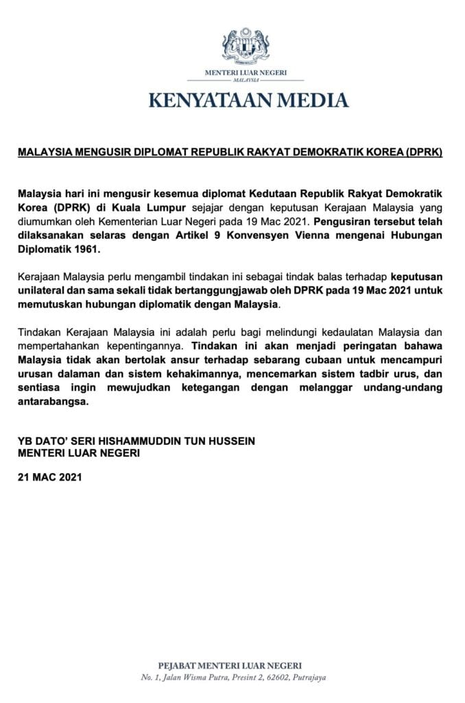 malaysia korea embassy statement malay